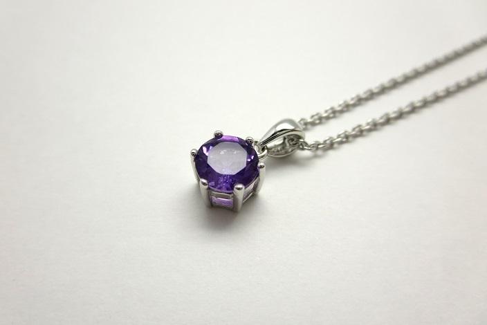 画像1: お守りプチネックレス【宝石質アメジスト・Silver925】